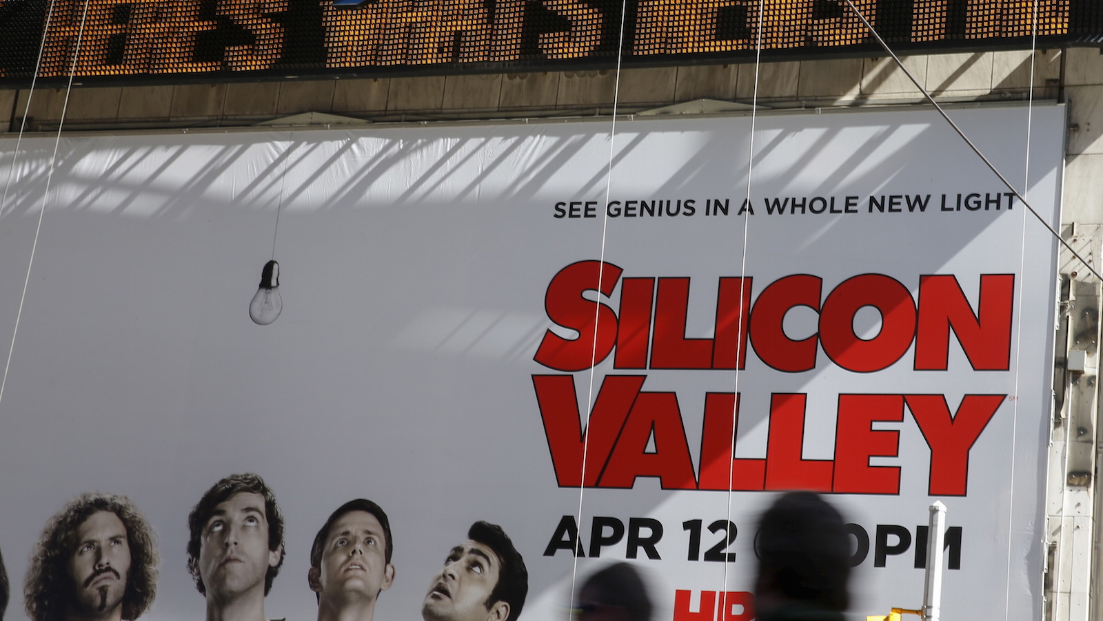 A billboard advertisement for the HBO series Silicon Valley is seen at Times Square in New York March 24, 2015.   REUTERS/Shannon Stapleton   - RTR4UPY1