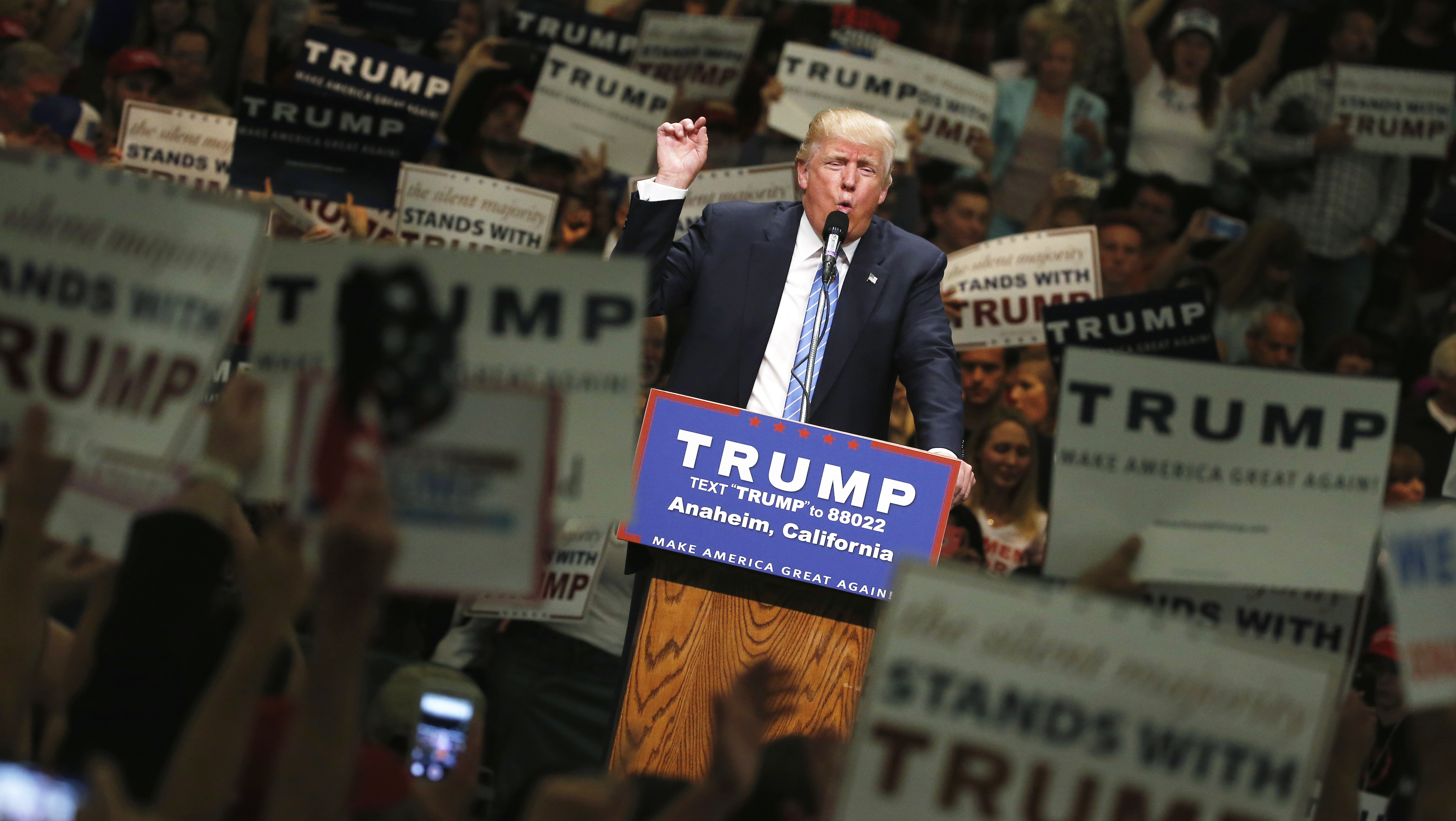 Republican U.S. presidential candidate Trump holds rally with supporters in Anaheim, California