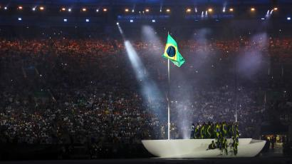 2016 Rio Olympics - Opening ceremony - Maracana - Rio de Janeiro, Brazil - 05/08/2016. Performers take part in the opening ceremony. REUTERS/Stefan Wermuth FOR EDITORIAL USE ONLY. NOT FOR SALE FOR MARKETING OR ADVERTISING CAMPAIGNS.