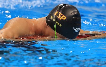 Swimmer Miguel Duran of Spain reacts after being disqualified for a false start in the 400m freestyle heat at the Rio 2016 Olympics. He was later given a reprieve and allowed to compete.