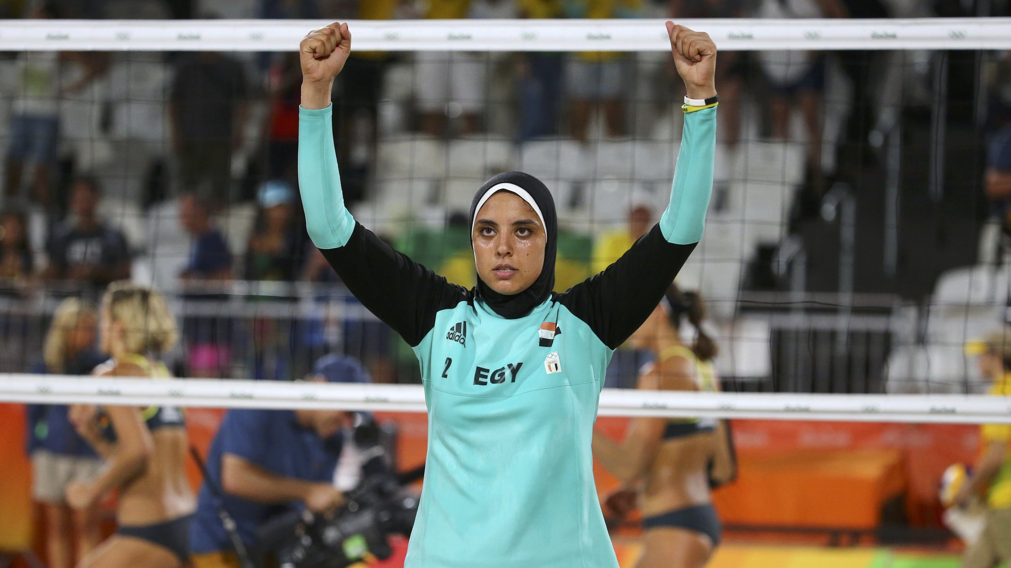2016 Rio Olympics - Beach Volleyball - Women's Preliminary - Beach Volleyball Arena - Rio de Janeiro, Brazil - 07/08/2016. Doaa Elghobashy (EGY) of Egypt reacts. REUTERS/Ruben Sprich   FOR EDITORIAL USE ONLY. NOT FOR SALE FOR MARKETING OR ADVERTISING CAMPAIGNS.   - RTSLO8Z