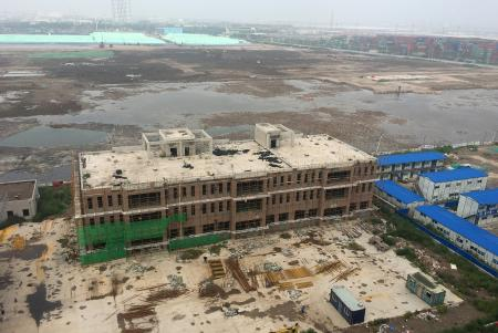 An overview shows the site of the explosions on August 12, 2015 at the Binhai new district, Tianjin, China, August 9, 2016.