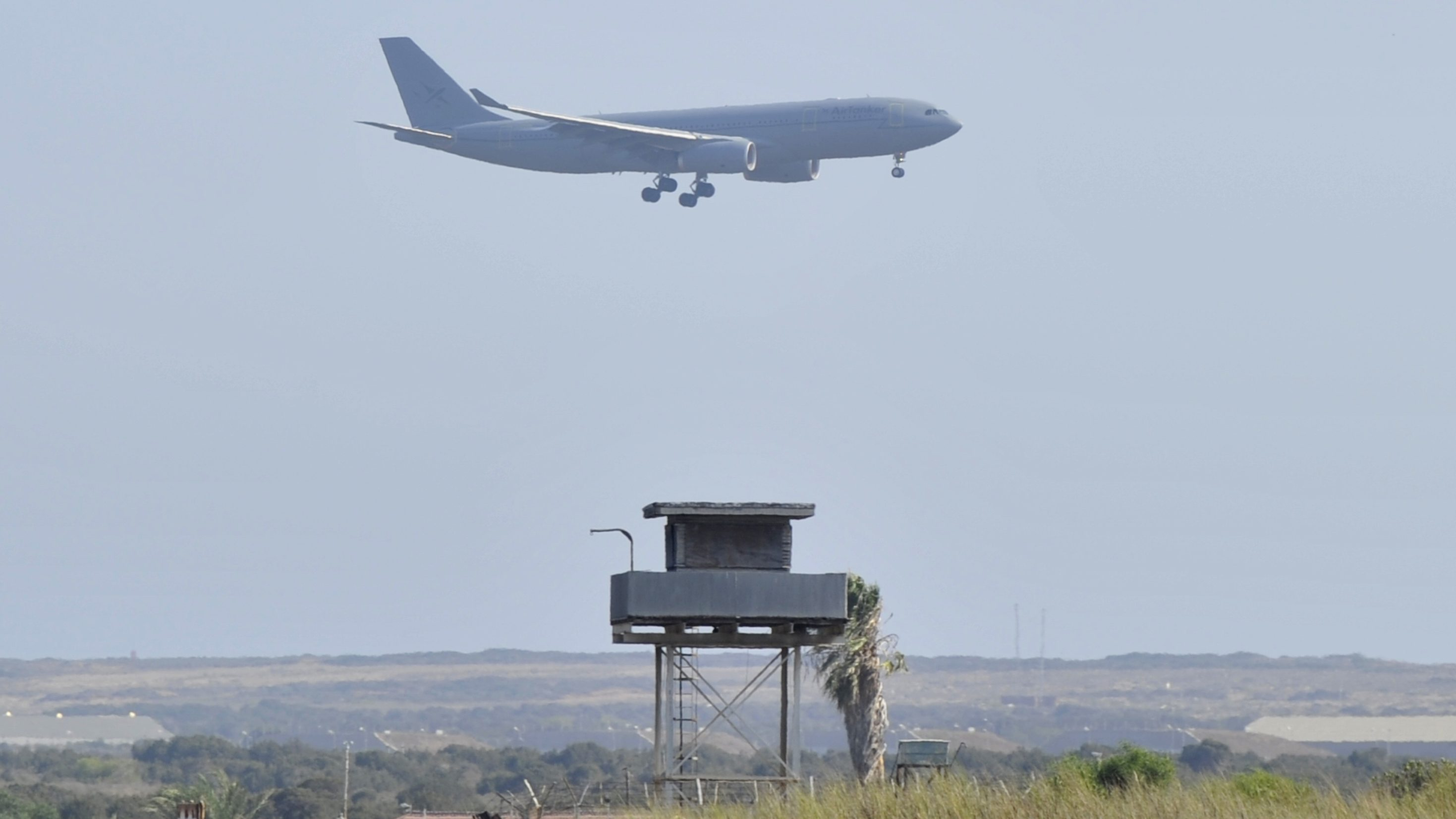 An AirTanker Airbus Voyager aircraft prepares to land at a British base at Akrotiri, near the city of Limassol, in Cyprus August 29 2013.