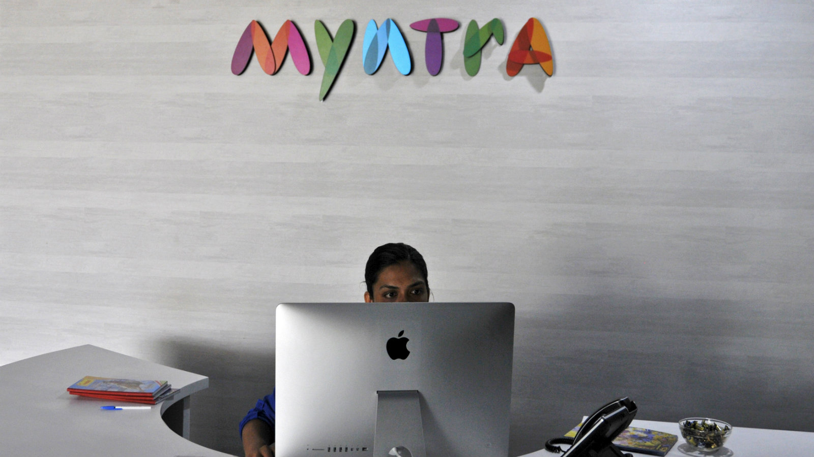 An employee works inside the office of Myntra in Bengaluru.