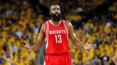 Apr 18, 2016; Oakland, CA, USA; Houston Rockets guard James Harden (13) reacts after the Rockets made a three point basket against the Golden State Warriors in the first quarter in game two of the first round of the NBA Playoffs at Oracle Arena. Mandatory Credit: Cary Edmondson-USA TODAY Sports