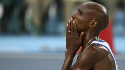 Mo Farah (GBR) of Britain reacts after winning the men's 10,000m final at the Rio 2016 Olympics.