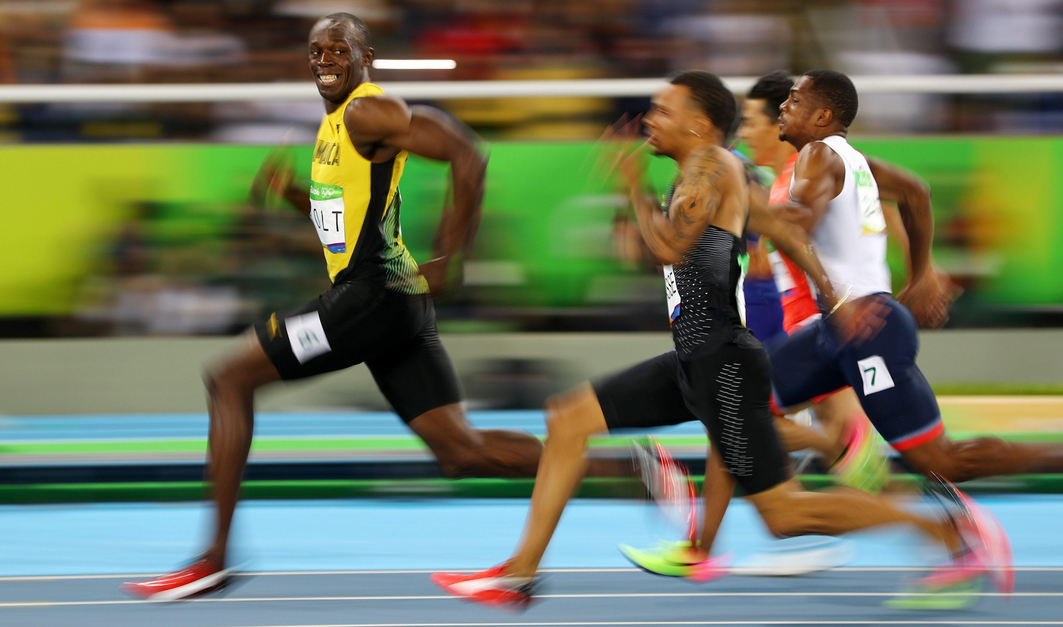 Usain Bolt winning the men's 100m semifinal