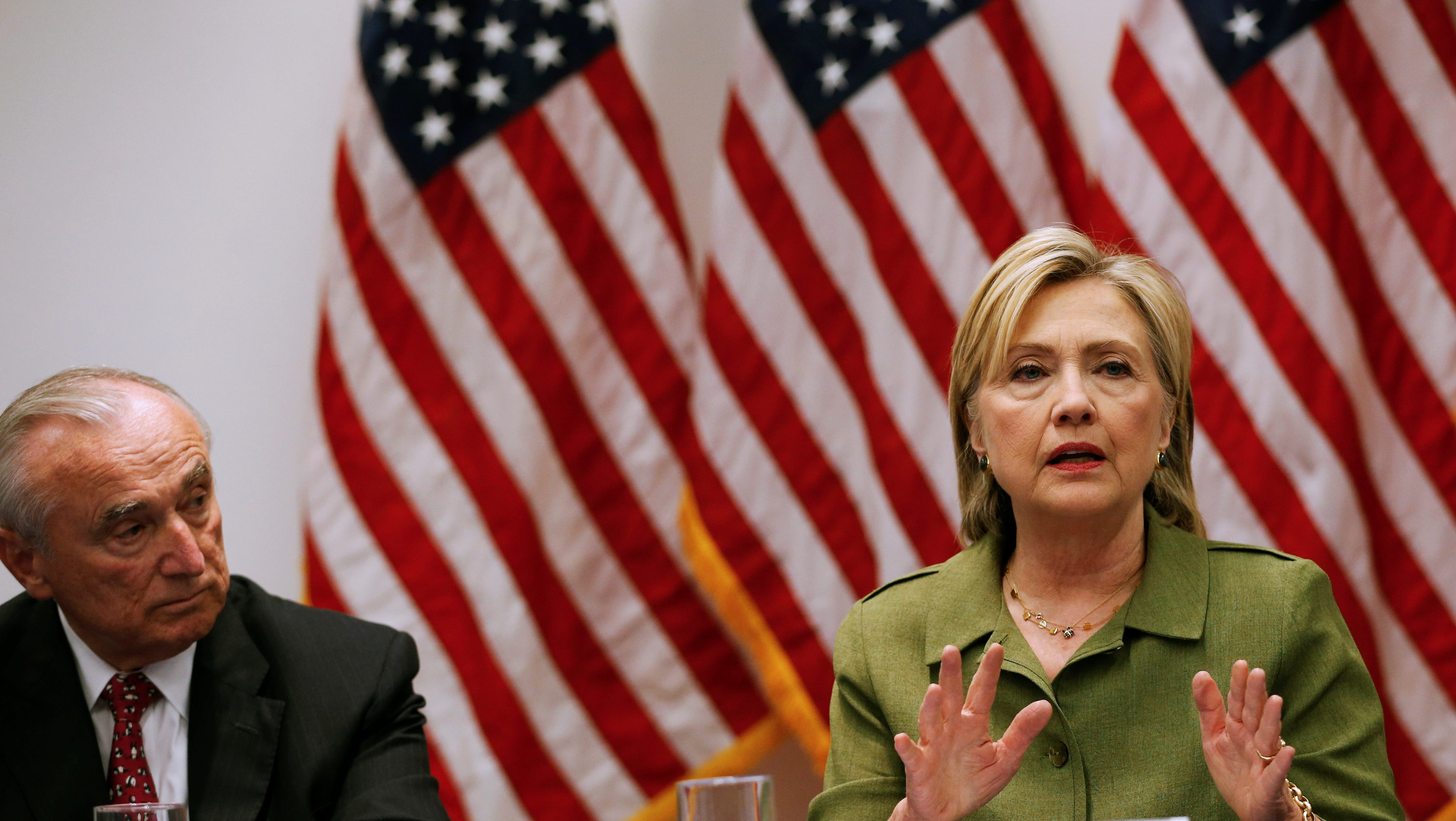 U.S. Democratic presidential nominee Hillary Clinton delivers remarks at a gathering of law enforcement leaders including New York Police Commissioner Bratton at John Jay College of Criminal Justice in New York
