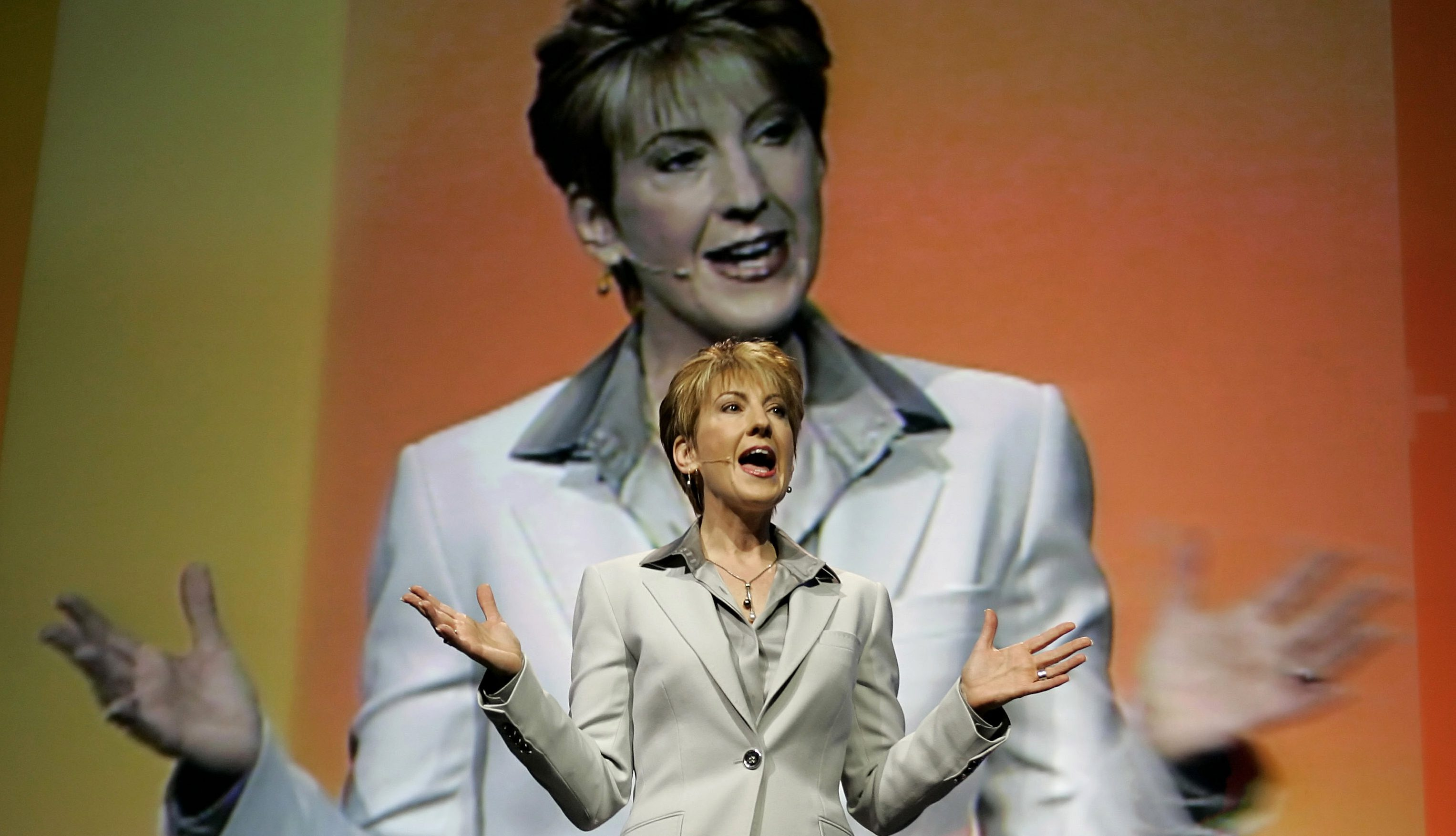 Carly Fiorina, chairman and chief executive officer (CEO) of Hewlett-Packard delivers her keynote ad..