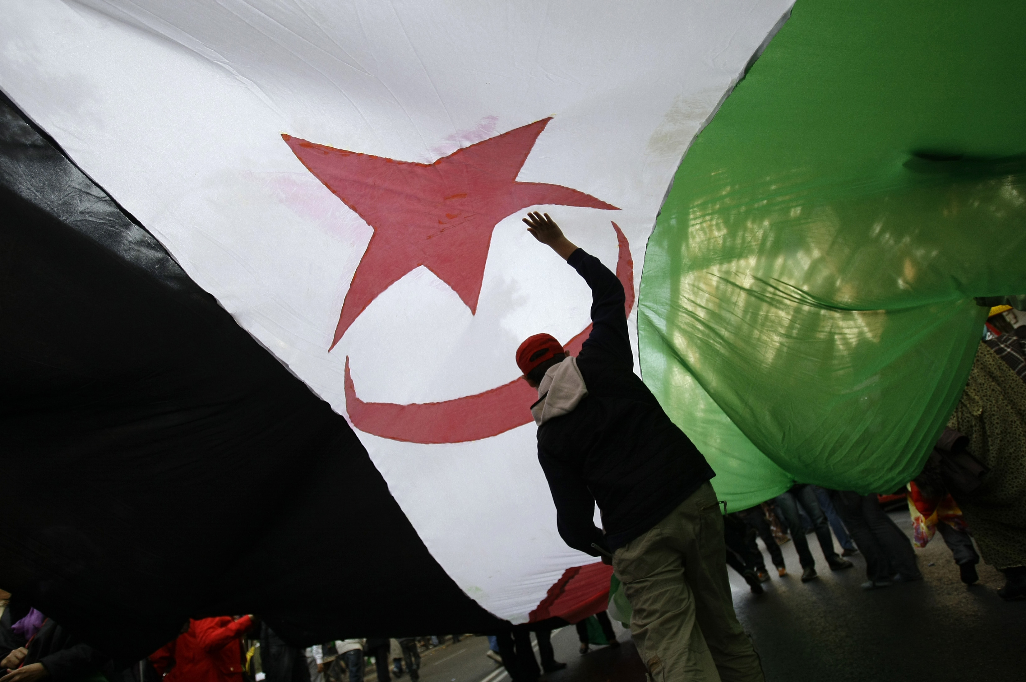 Protesters carry a Western Sahara flag during a demonstration in support of independence for Western Sahara in Madrid
