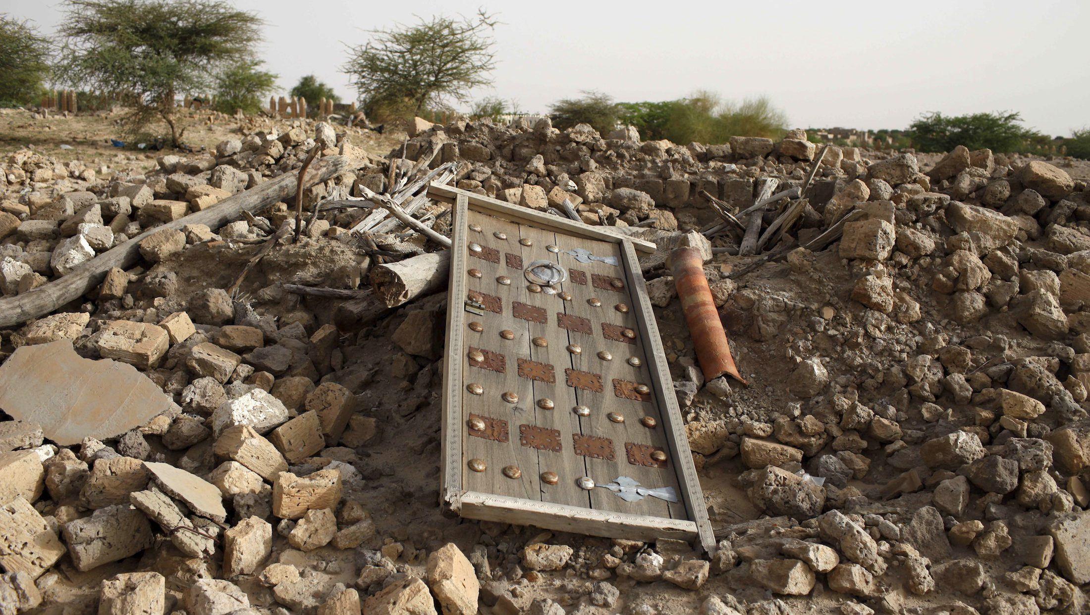 The rubble left from an ancient mausoleum destroyed by Islamist militants, is seen in Timbuktu, Mali, July