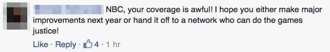 NBC Olympics Facebook comment.