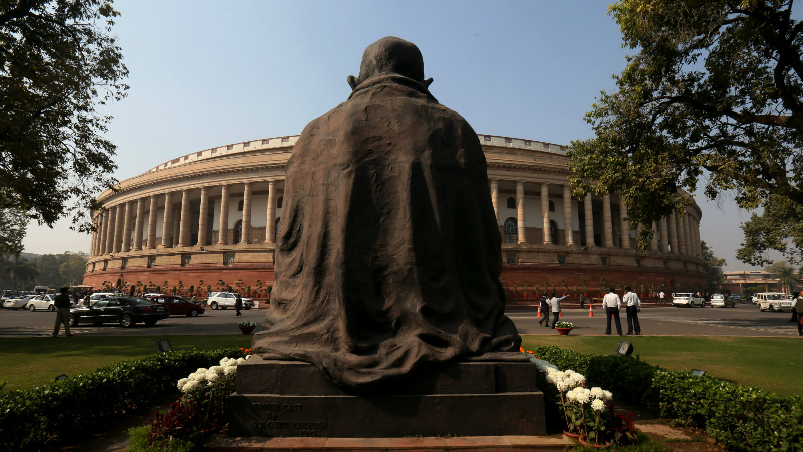 A statue of Mahatma Gandhi overlooks the Indian parliament. Everything that he has stood for till now may be under siege now.