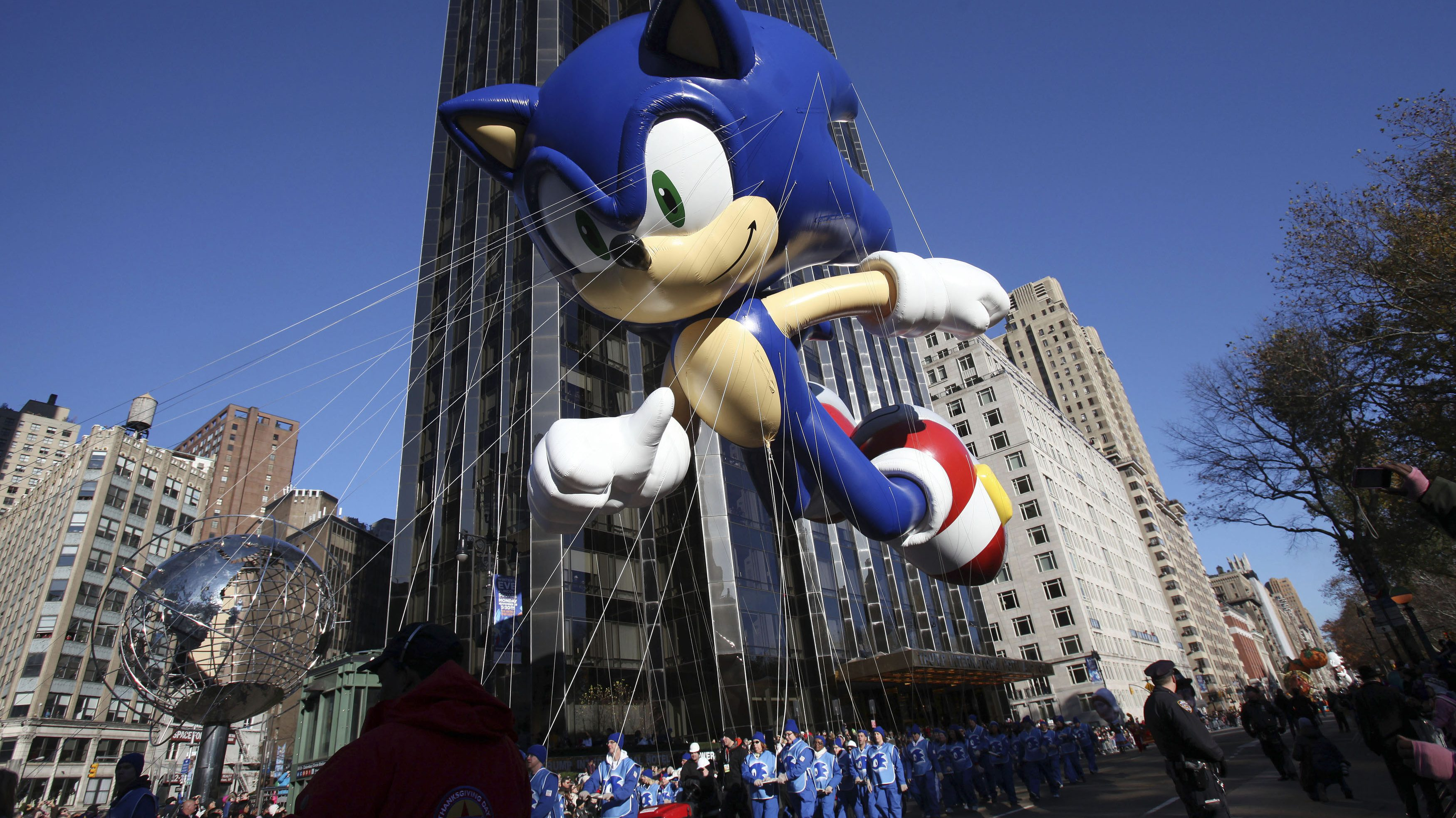 """The """"Sonic the Hedgehog"""" balloon floats around Columbus Circle during the 85th annual Macy's Thanksgiving day parade in New York November 24, 2011."""