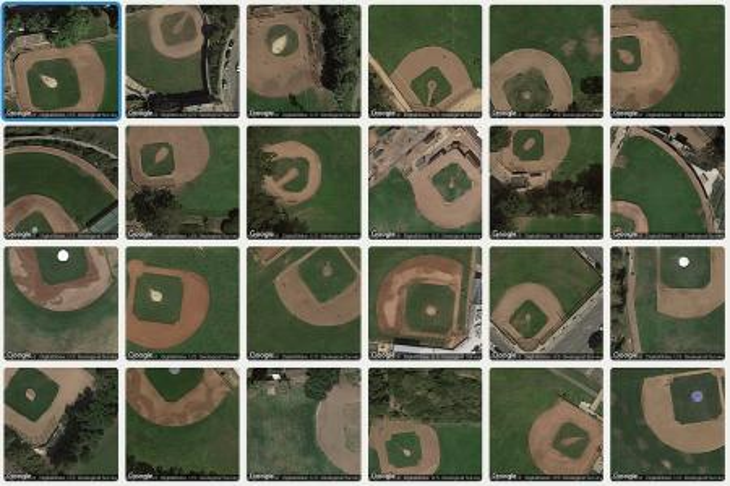 Satellite images of baseball diamonds