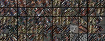 A collage of satellite photos of container yards in New York City.