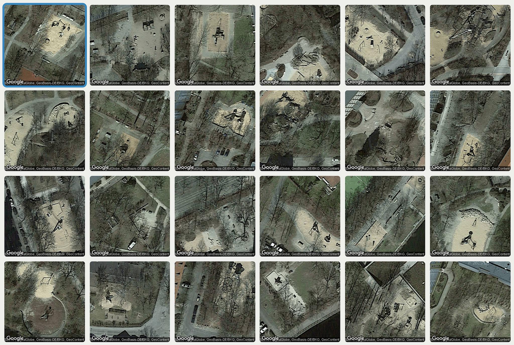 Satellite images of urban trees