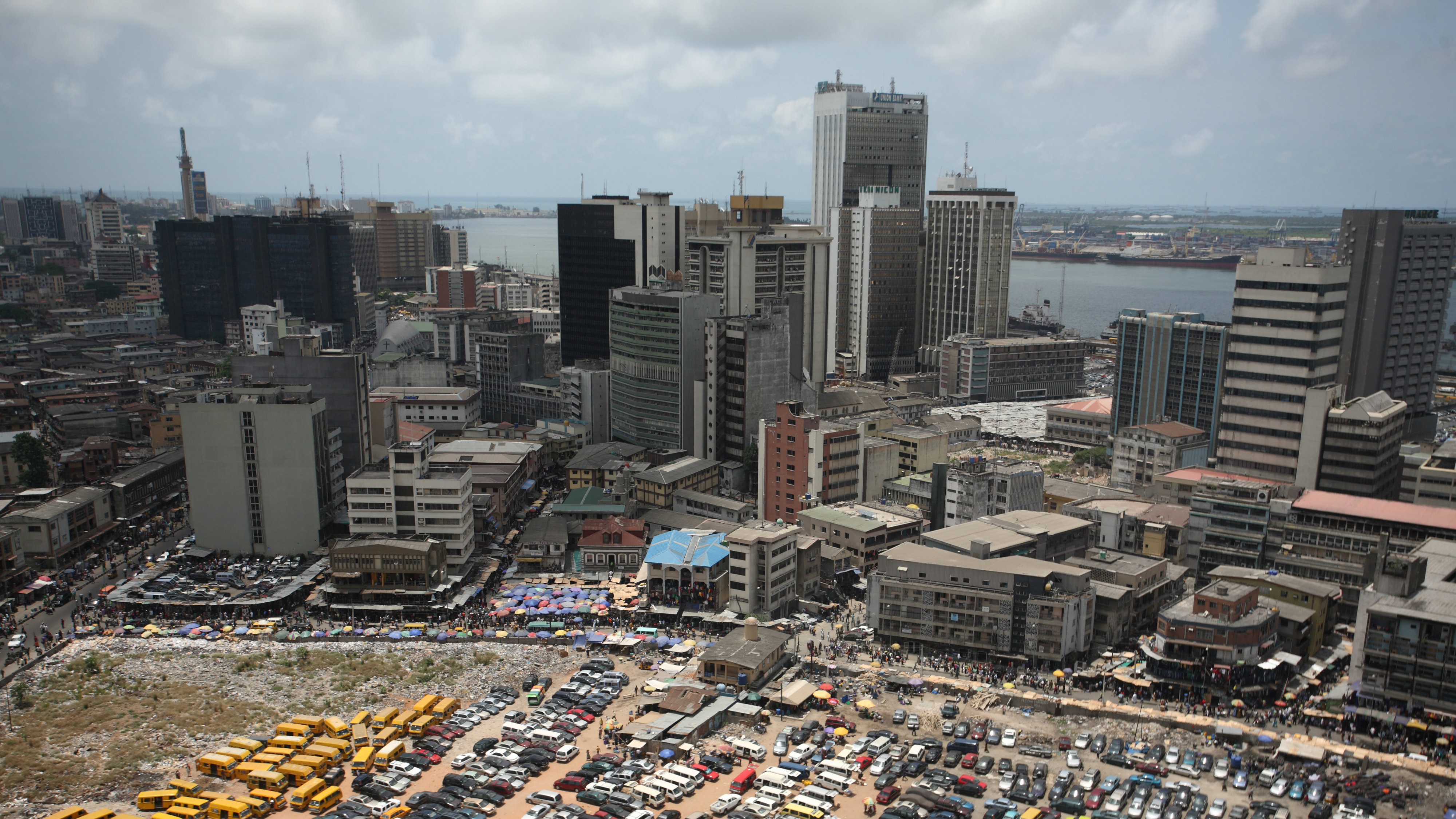 An aerial view shows the central business district in Nigeria's commercial capital of Lagos, April 7, 2009