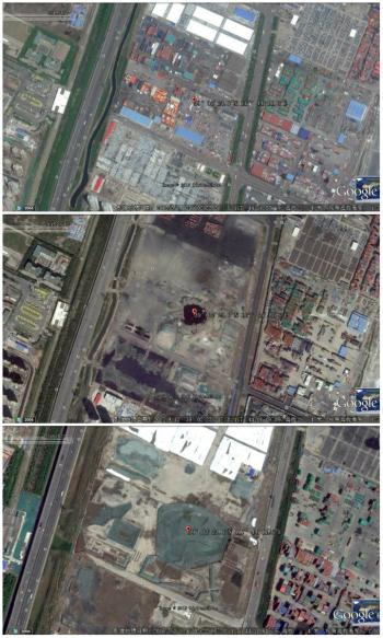 The Tianjin blast site is still a wasteland one year on, as shown by Google Earth.