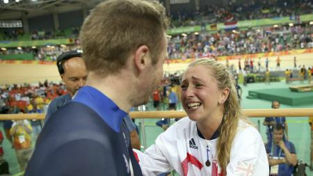 Team GB's Jason Kenny and Laura Trott reunite after Kenny wins the gold medal in the men's Keirin final at Rio 2016.