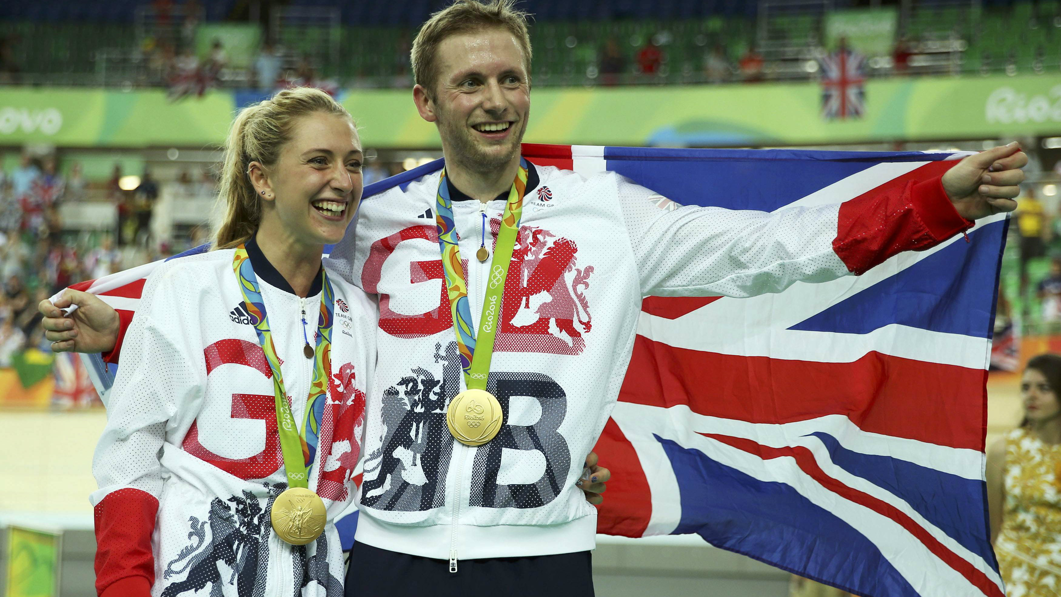 Jason Kenny and Laura Trott from Team GB's track cycling team celebrate their wins at the Rio Olympics 2016.
