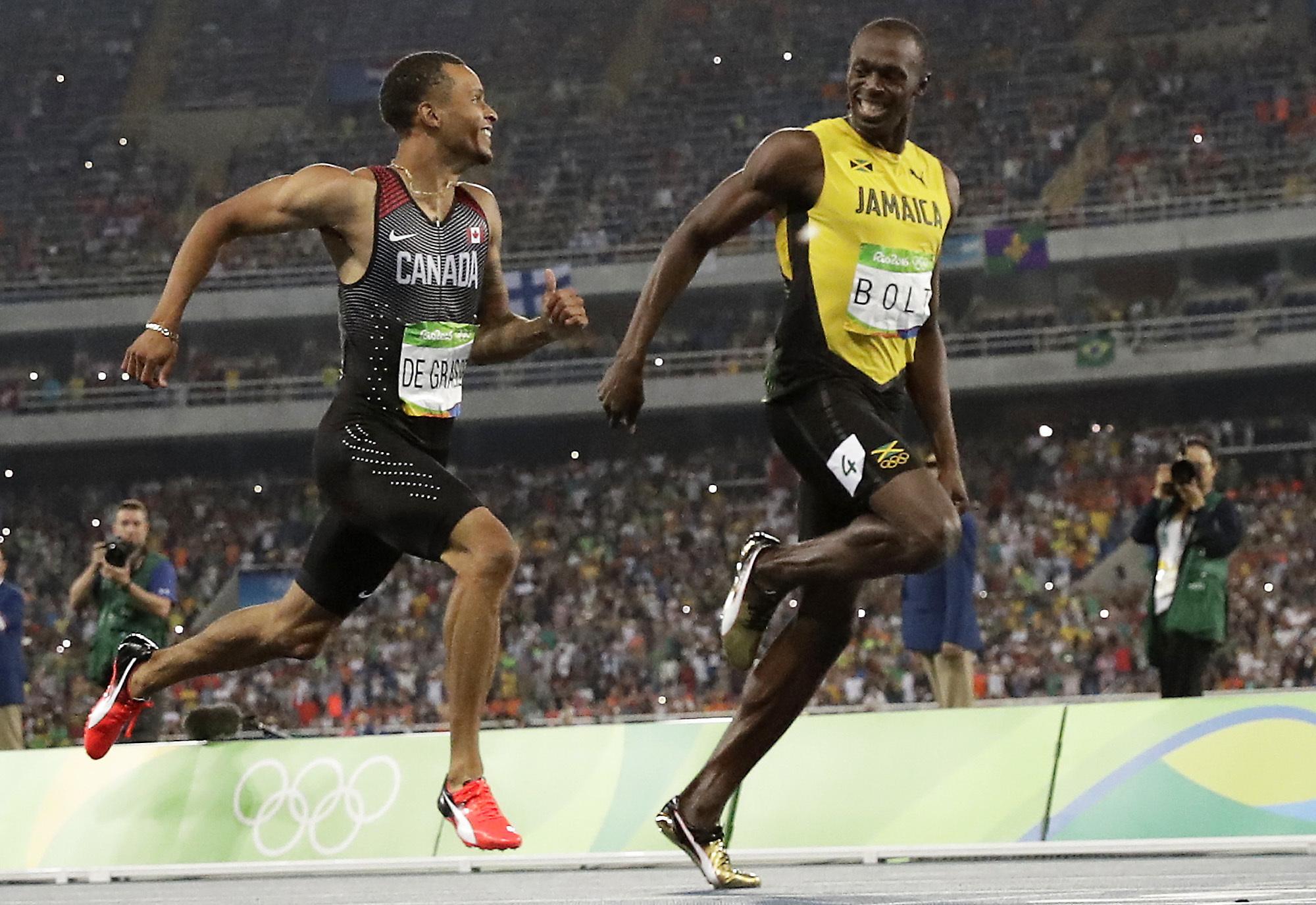 Canada's Andre De Grasse, left, and Jamaica's Usain Bolt