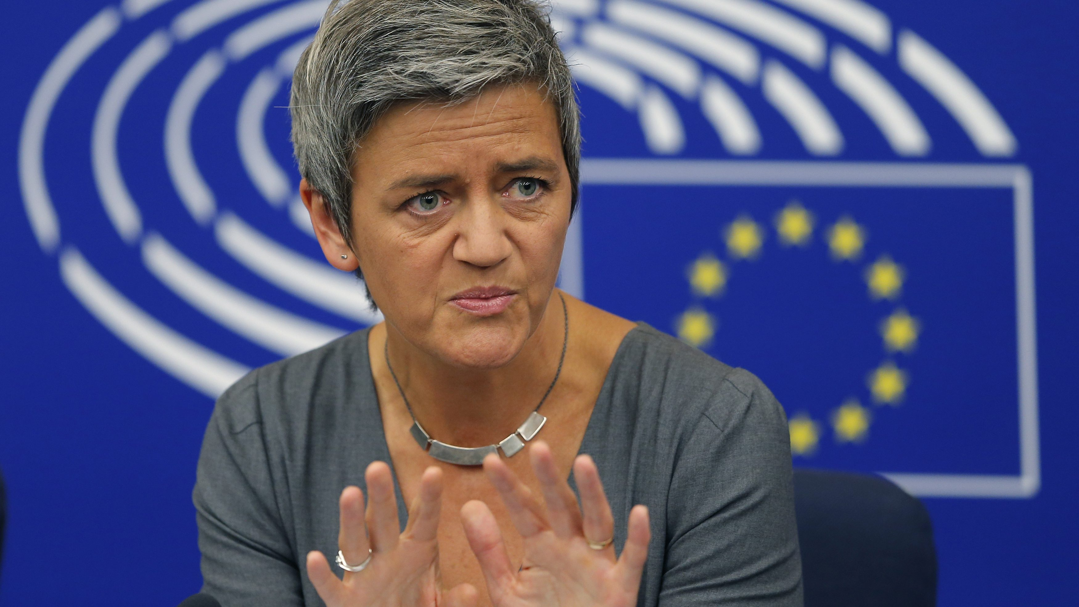 European Competition Commissioner Vestager holds a news conference on the takeover of Alstom?s power businesses by U.S. conglomerate General Electric at the European Parliament in Strasbourg