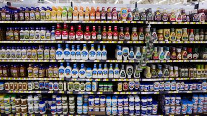 Salad dressings are displayed at a Walmart store in Secaucus, New Jersey