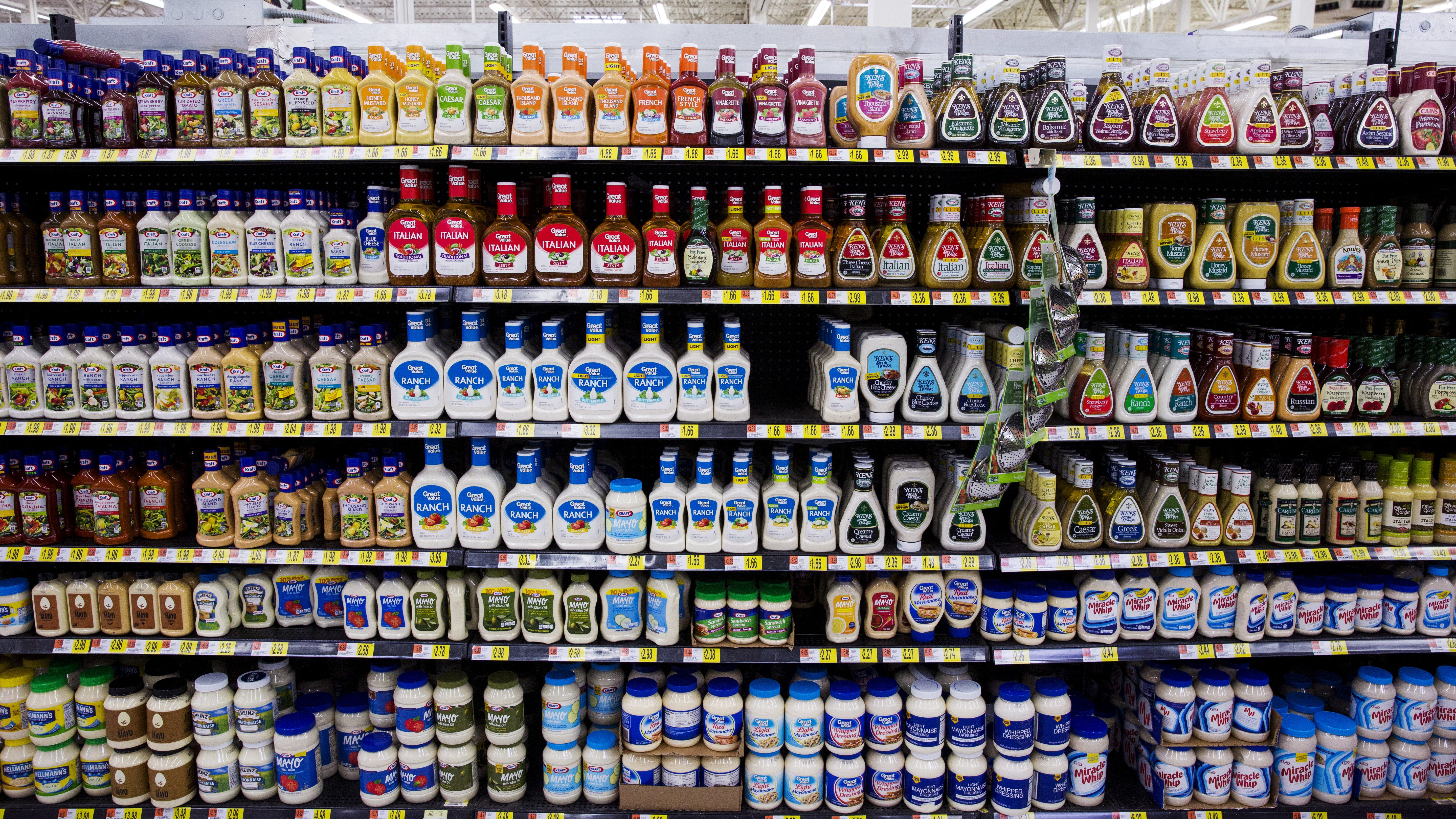 Salad dressings are displayed at a Walmart store in Secaucus, New Jersey, November 11, 2015.