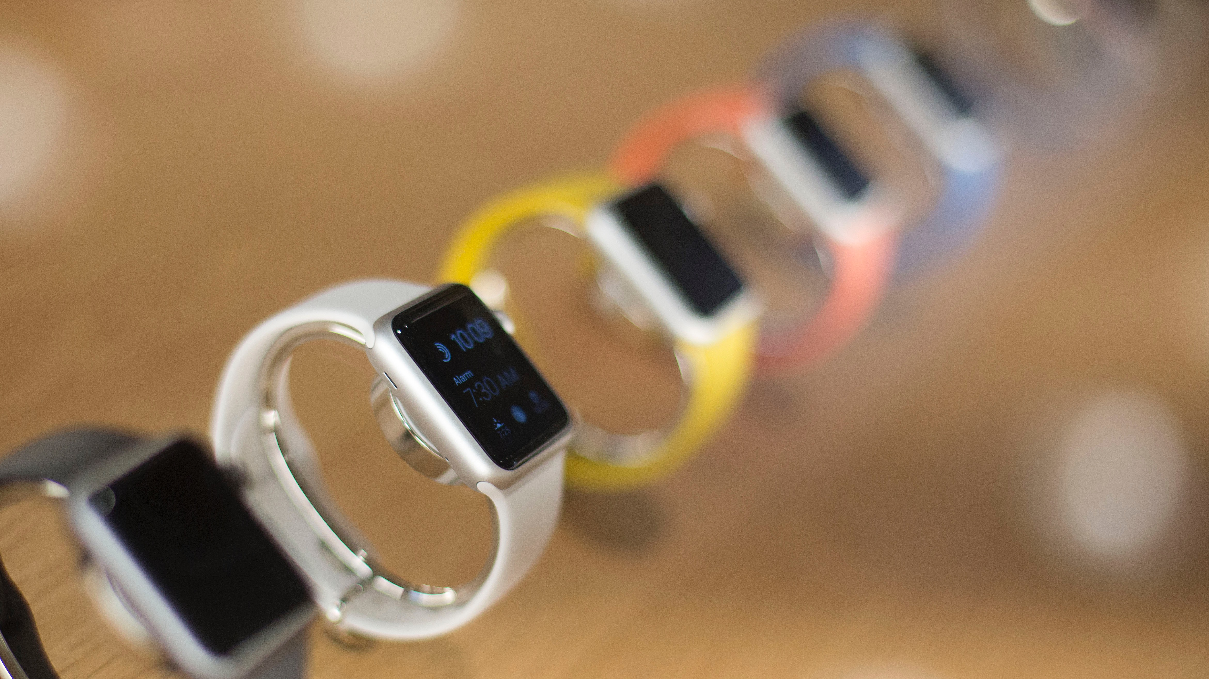A line of Apple Watches is displayed, Thursday, July 28, 2016, at a new Apple Store in the Williamsburg section in the Brooklyn borough of New York. The store opens to the public Saturday. (AP Photo/Mark Lennihan)