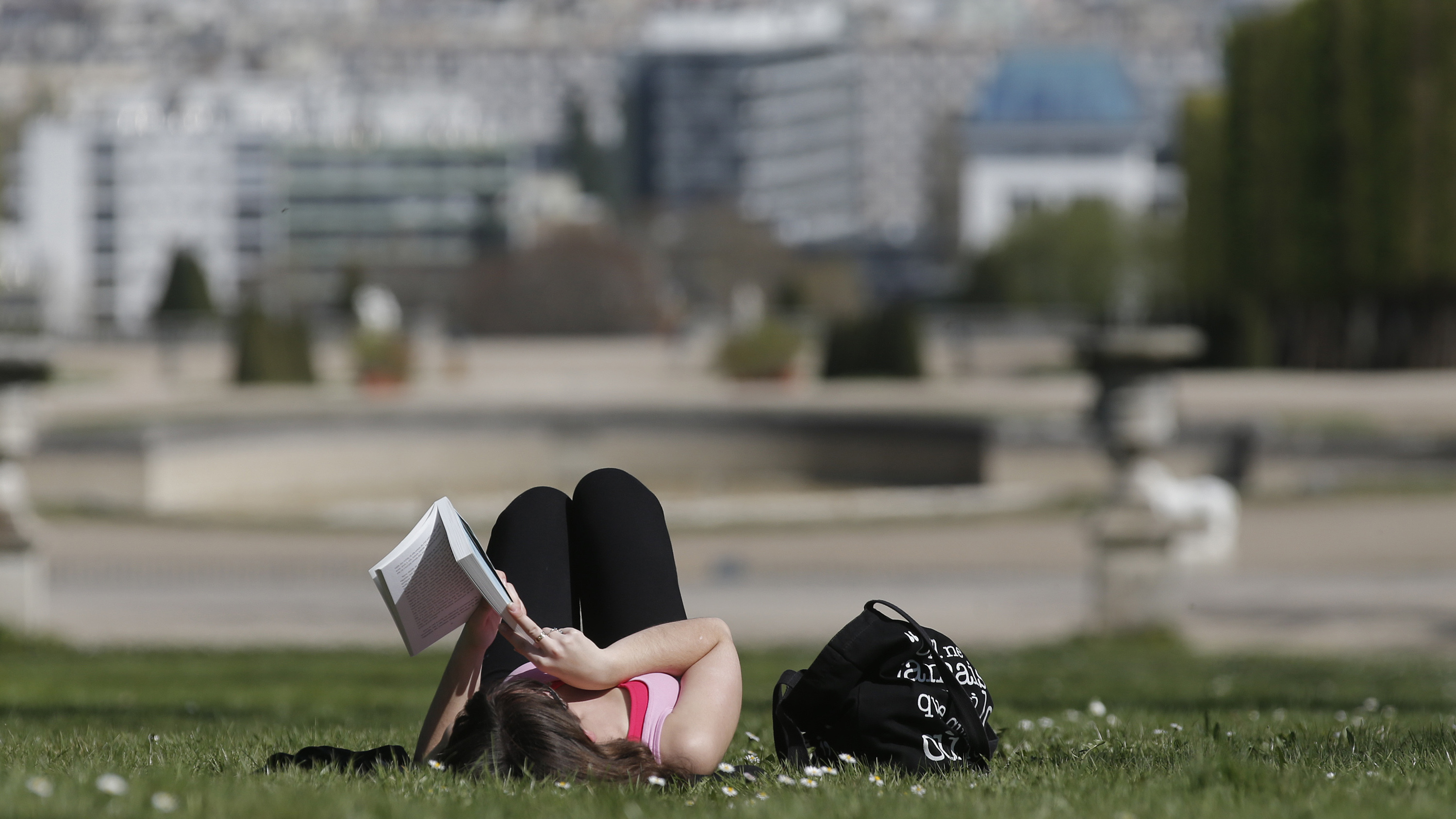A woman reads a book