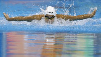 Yusra Mardini, swimming for the Refugee Olympic Team, competes in a women's 100m butterfly heat during the swimming competitions at the 2016 Summer Olympics, Saturday, Aug. 6, 2016, in Rio de Janeiro, Brazil.