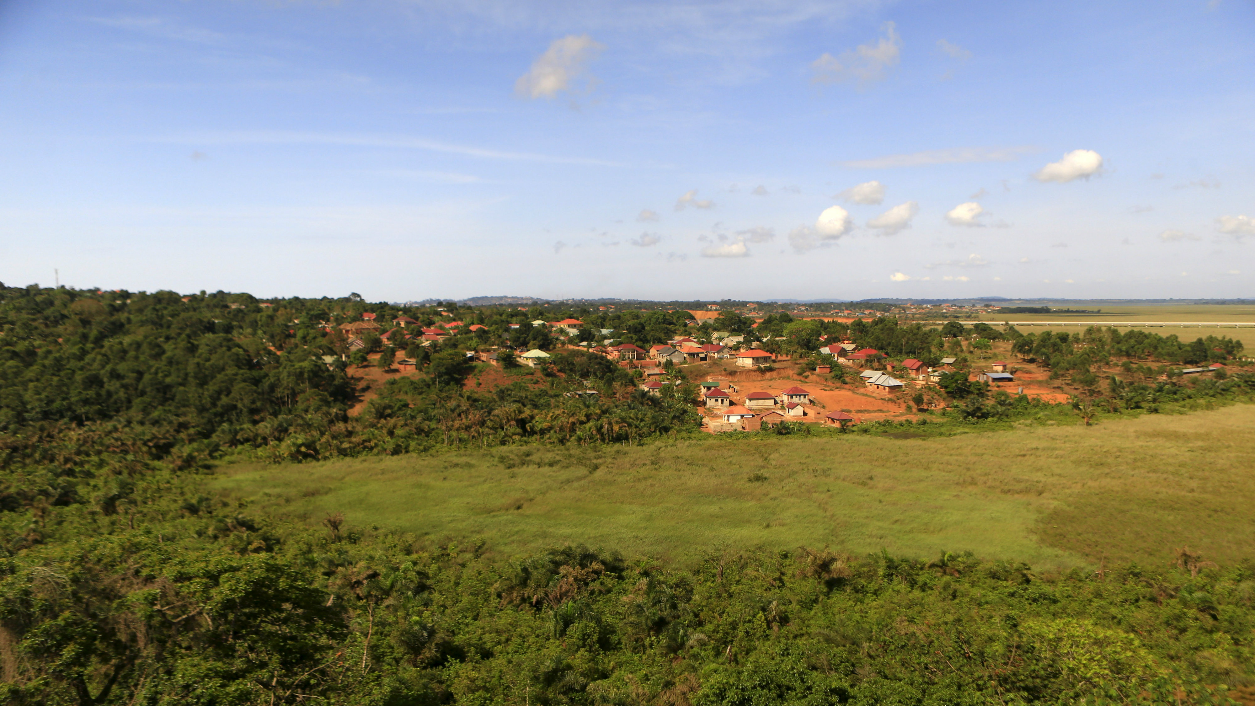 Houses are built in the periphery of the Zika Forest in Entebbe, south of Uganda's capital Kampala March 2, 2016. In a patch of forest near Lake Victoria in Uganda, mosquitoes known to carry the Zika virus buzz with little seeming worry amid the local community.
