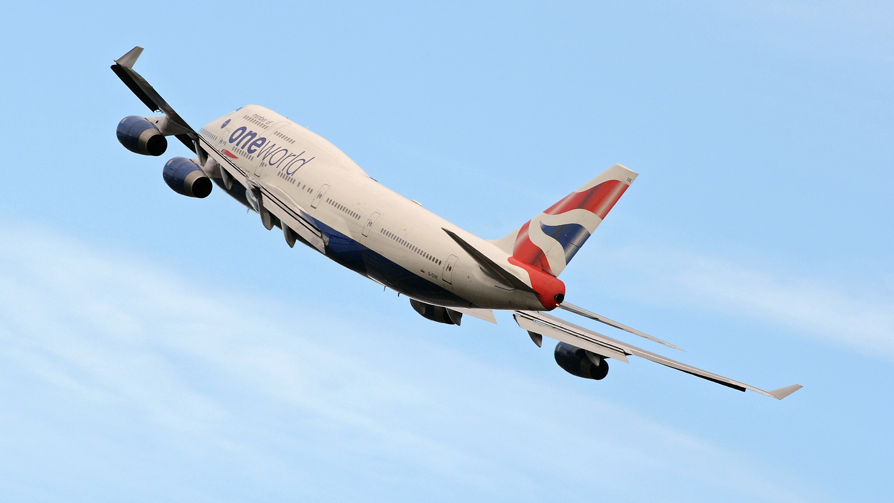 A British Airways Boeing 747 aircraft banks after taking off from Heathrow Airport in west London