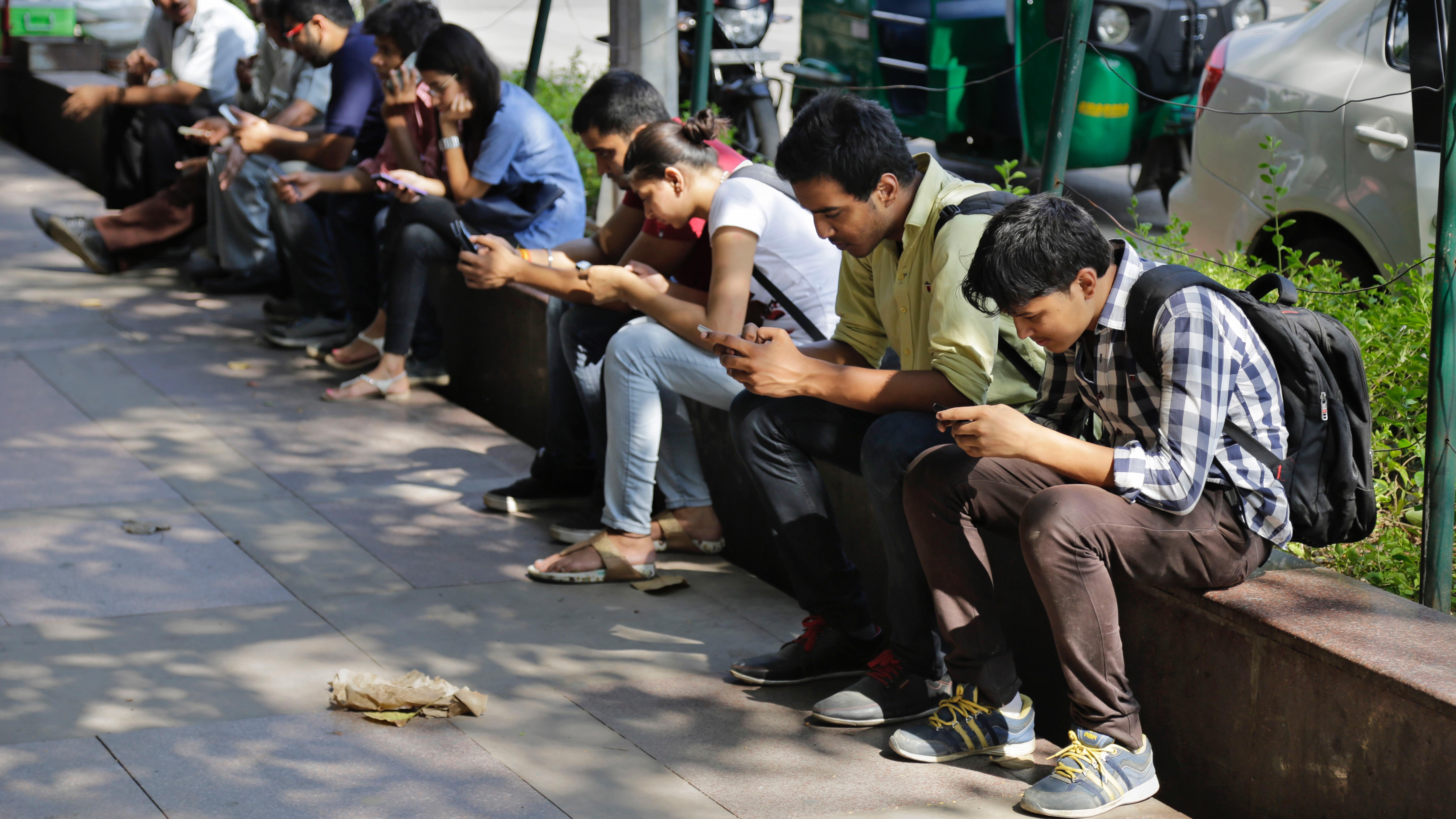 Indians using phones