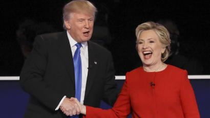 Image result for clinton trump handshake