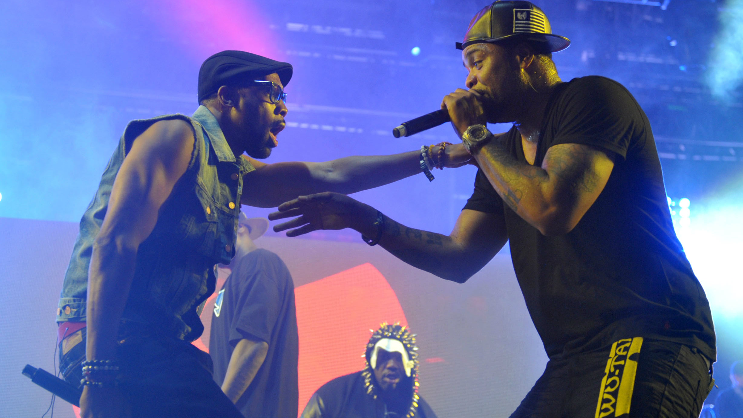 RZA and Method Man of the Wu-Tang Clan in performance.