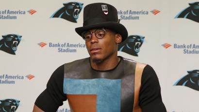 Carolina Panthers' Cam Newton speaks to the media after an NFL football game against the Minnesota Vikings in Charlotte, N.C., Sunday, Sept. 25, 2016. The Vikings won 22-10. (AP Photo/Bob Leverone)