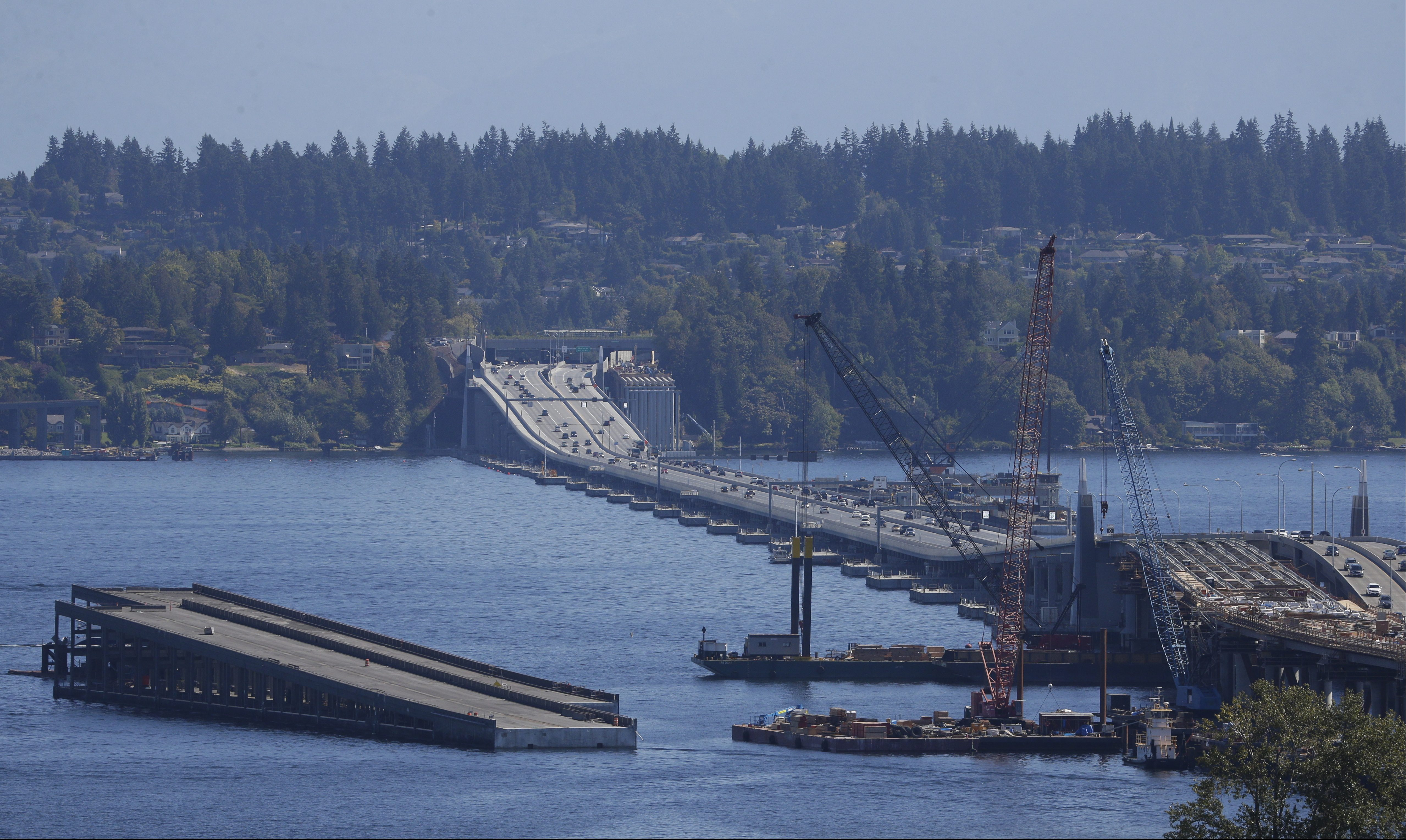The State Route 520 Bridge is shown under construction, Saturday, Sept. 10, 2016, in Seattle. (AP Photo/Ted S. Warren)