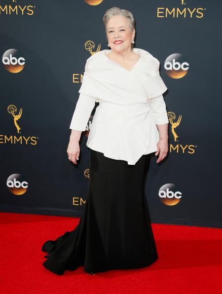 Kathy Bates arrives at the 68th Primetime Emmy Awards on Sunday, Sept. 18, 2016, at the Microsoft Theater in Los Angeles. (Photo by Danny Moloshok/Invision for the Television Academy/AP Images)