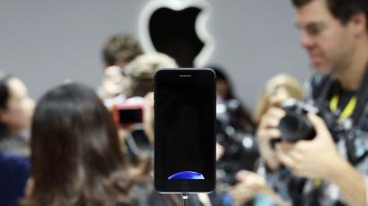 The iPhone 7 is shown on display during an Apple media event in San Francisco