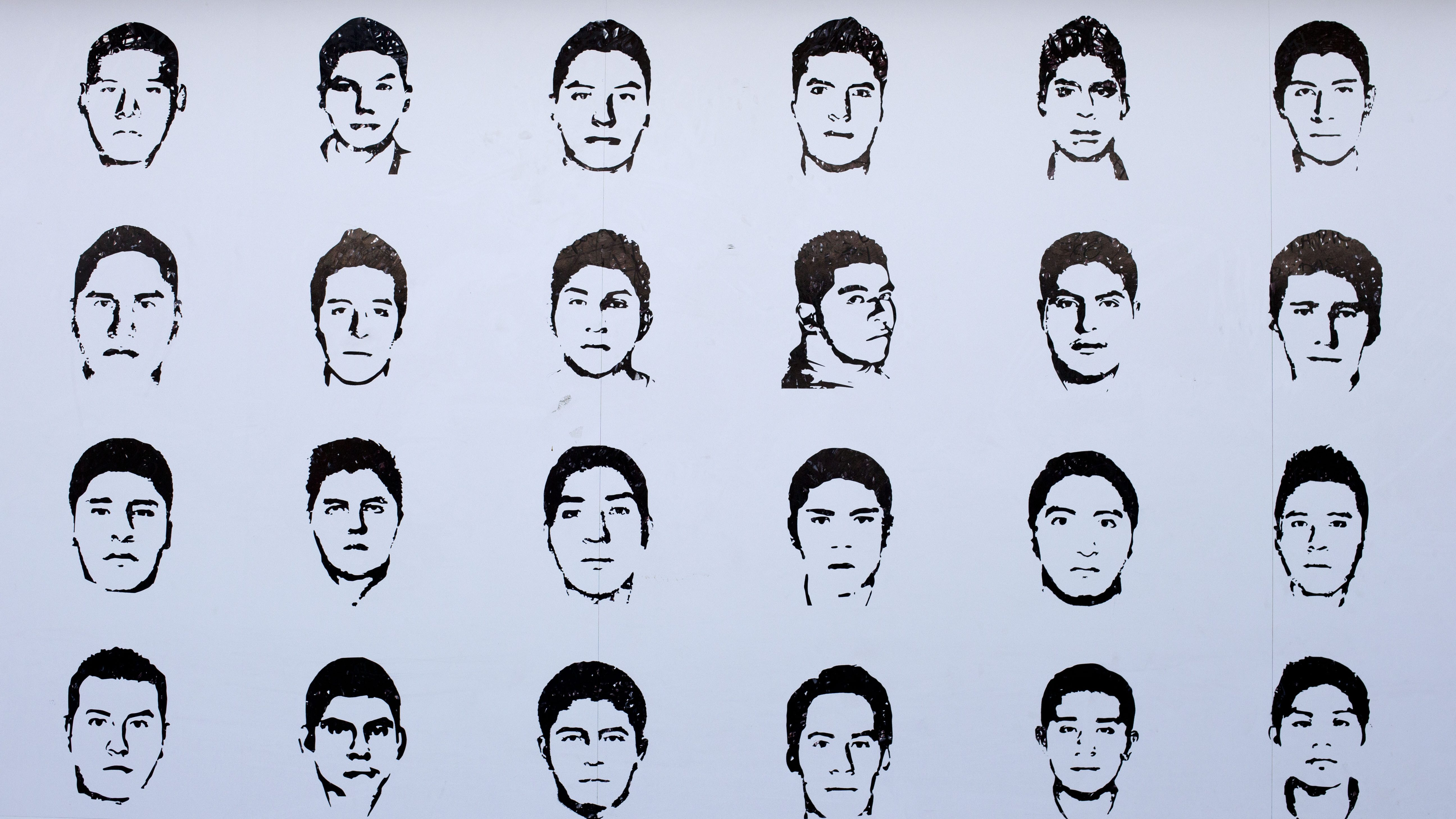 Portraits of some of the 43 teacher's college students from Ayotzinapa, Mexico, that disappeared on Sept. 26, 2014.