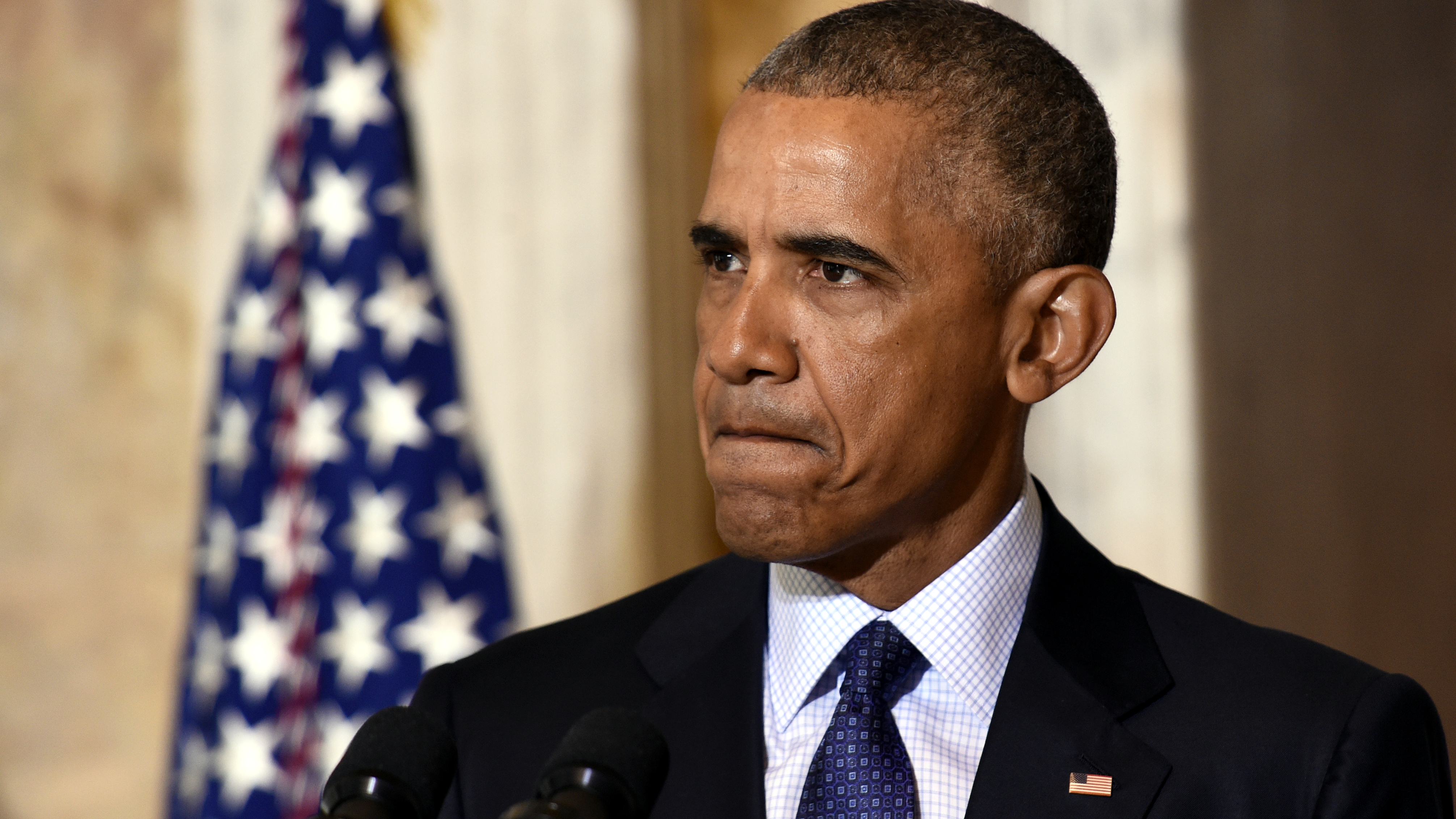 President Barack Obama speaks after meeting with his National Security Council at the Treasury Department in Washington, Tuesday, June 14, 2016, to get updates on the investigation into the attack in Orlando, Florida and review efforts to degrade and destroy ISIL.