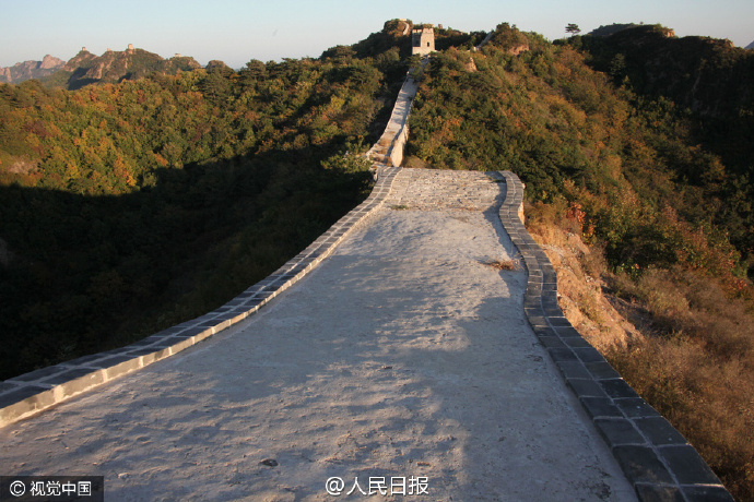 """The """"repaired"""" Xiaohekou section of the Great Wall."""