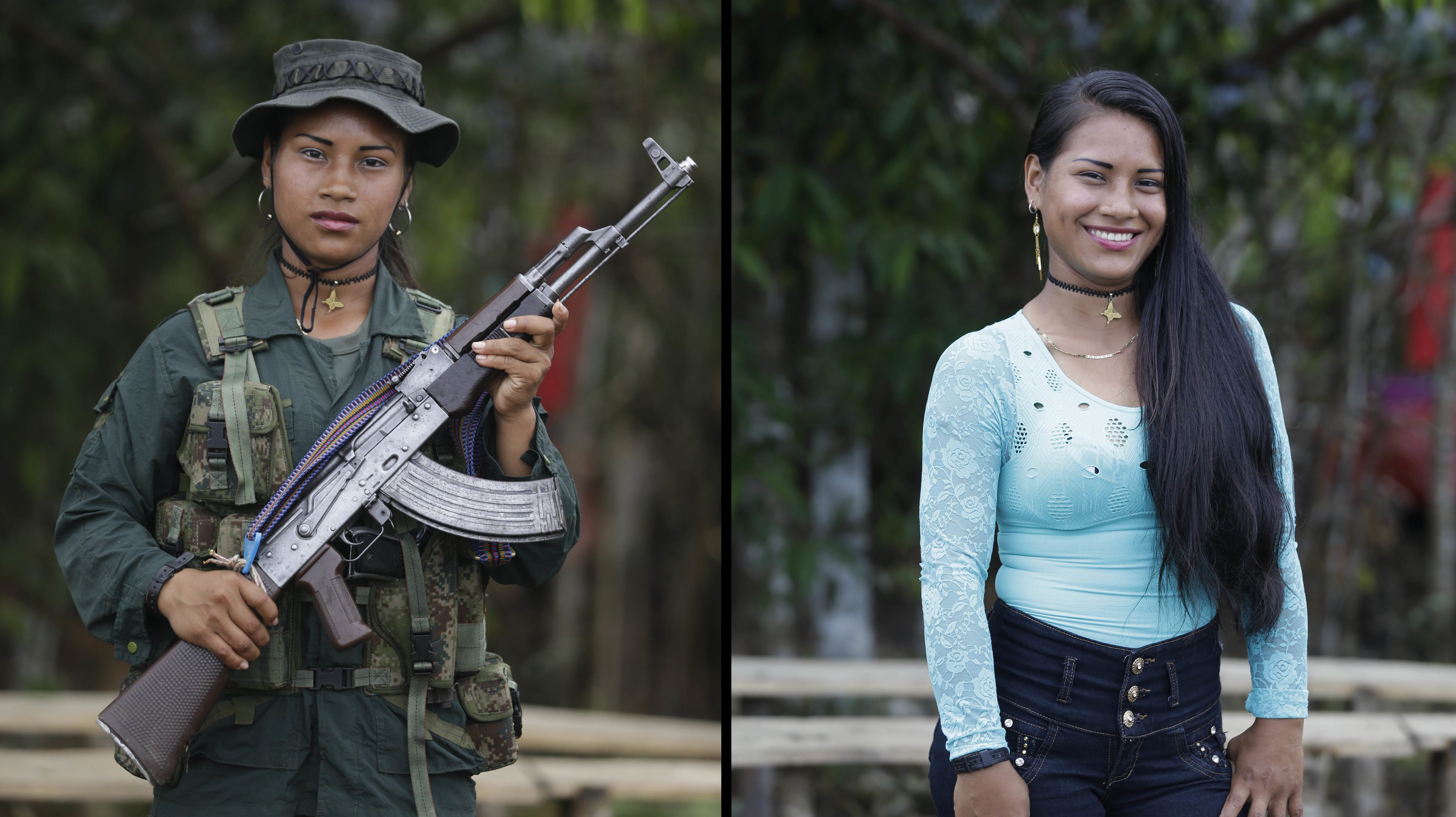 A FARC fighter holding a weapon while in her uniform and in civilian clothing at a guerrilla camp in the southern jungle of Putumayo, Colombia.