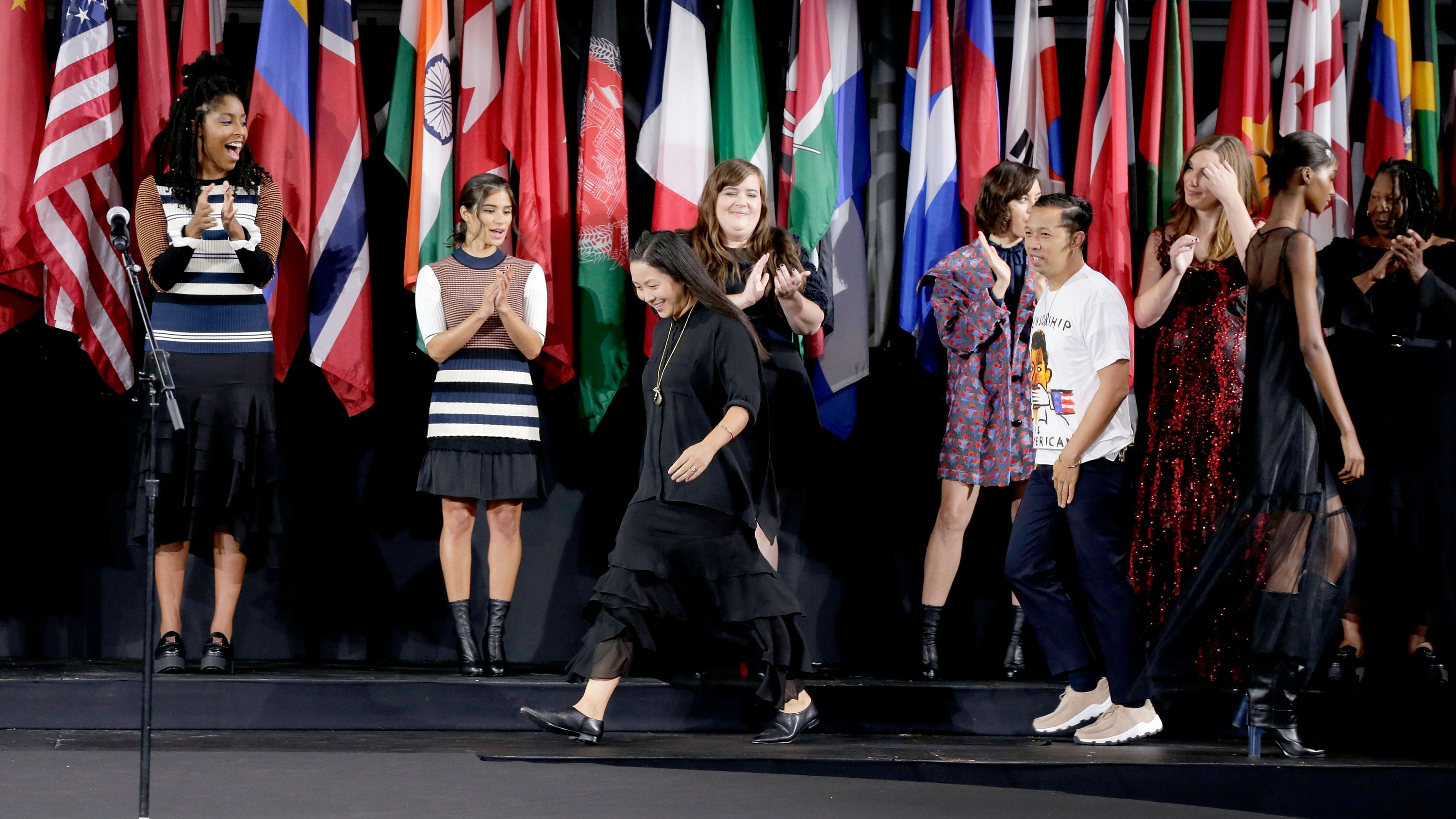 NEW YORK, NY - SEPTEMBER 11: Designers Carol Lim and Humberto Leon speak onstage during the Opening Ceremony fashion show during New York Fashion Week at Jacob Javits Center on September 11, 2016 in New York City. (Photo by JP Yim/Getty Images)