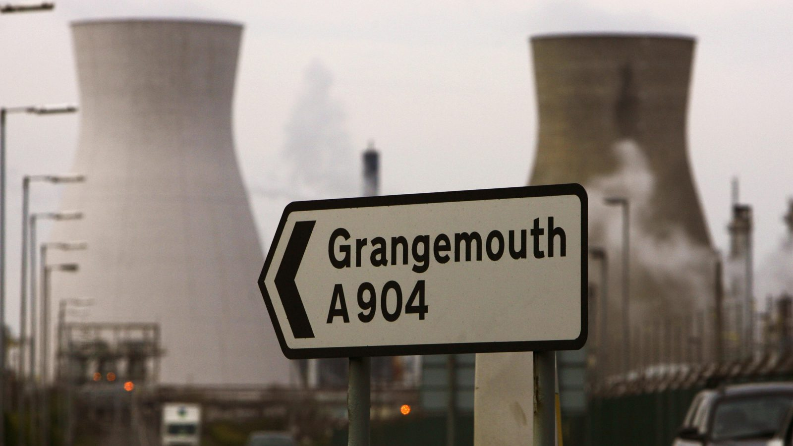 Grangemouth refinery sign.