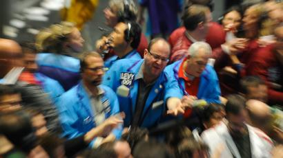 Traders on the Chicago Mercantile Exchange (CME) Group trading floor at the Chicago Board of Trade.