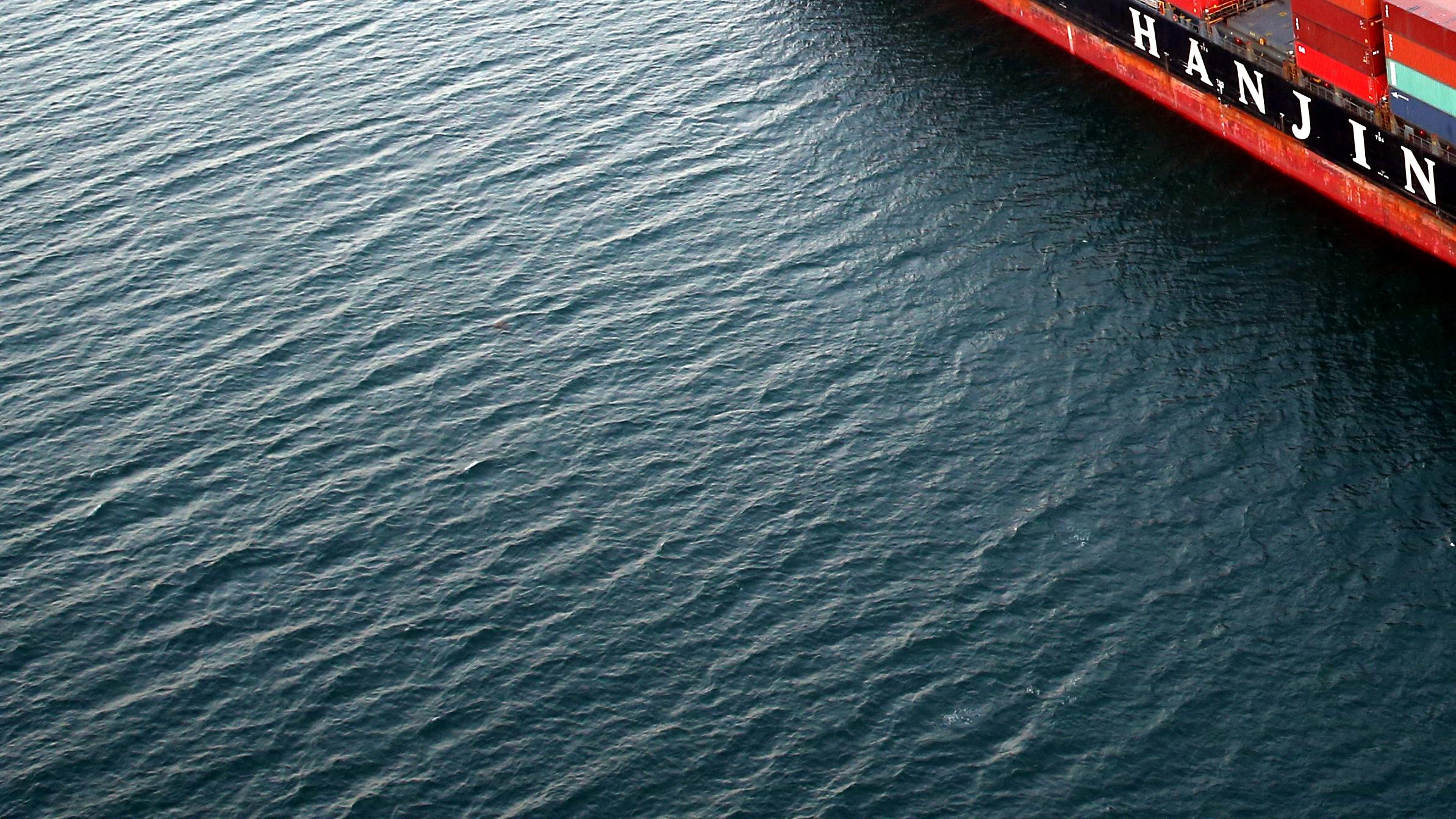 A Hanjin Shipping Co ship is seen stranded outside the Port of Long Beach, California, U.S., September 8, 2016.