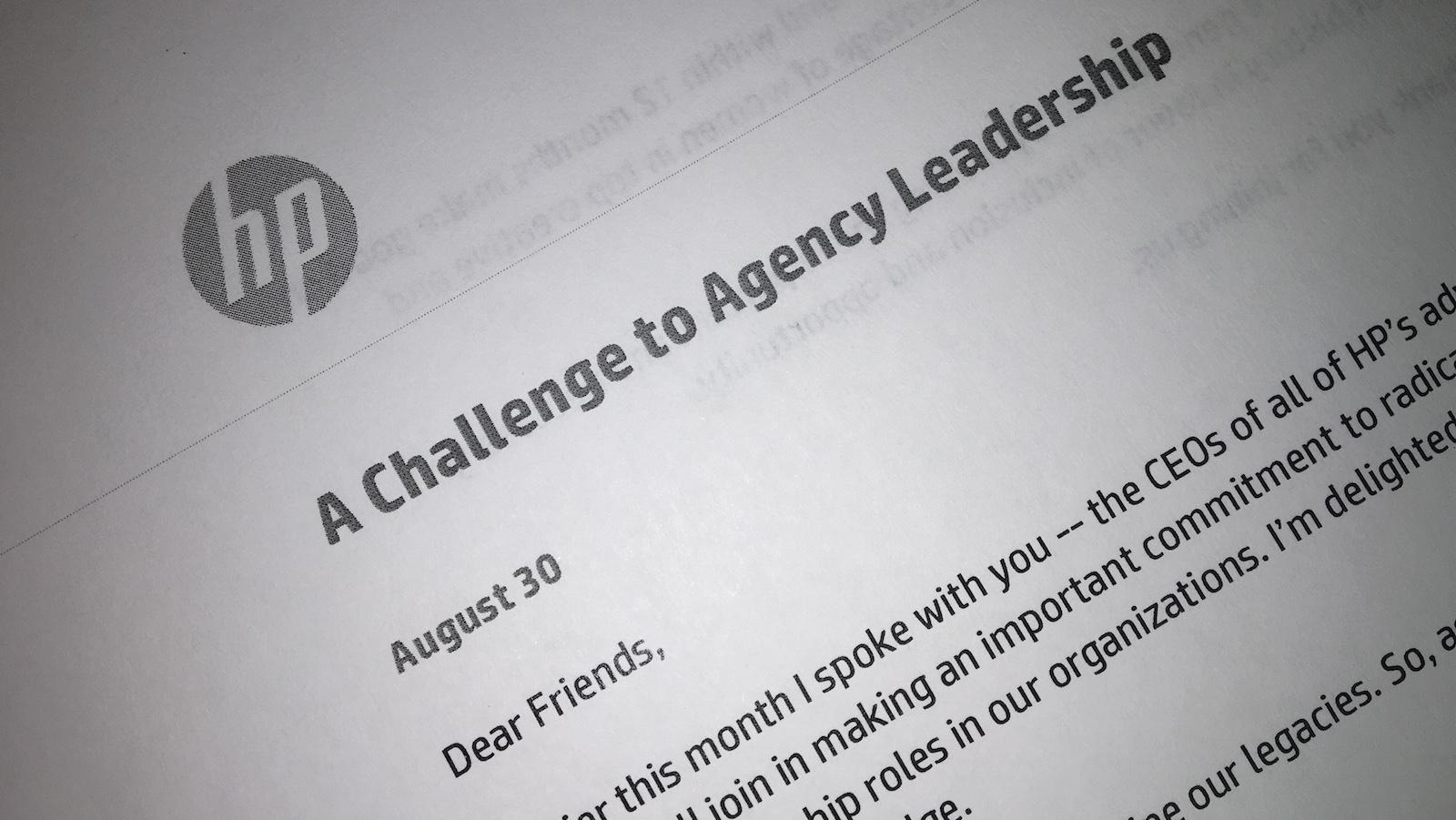 Hewlett-Packard wrote to its agency partners demanding diversity